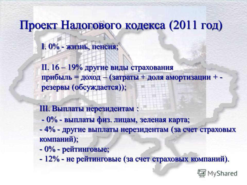 Проект Налогового кодекса (2011 год) I. 0% - жизнь, пенсия; ІІ. 16 – 19% другие виды страхования прибыль = доход – (затраты + доля амортизации + - резервы (обсуждается)); IІI. Выплаты нерезидентам : - 0% - выплаты физ. лицам, зеленая карта; - 4% - др