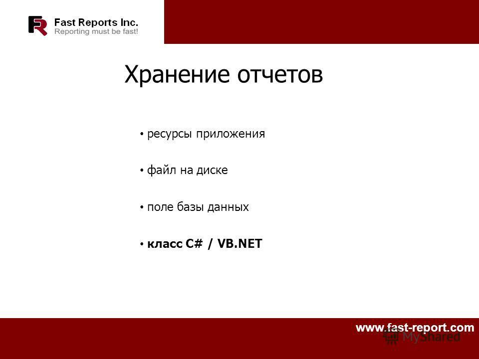 www.fast-report.com Хранение отчетов ресурсы приложения файл на диске поле базы данных класс C# / VB.NET