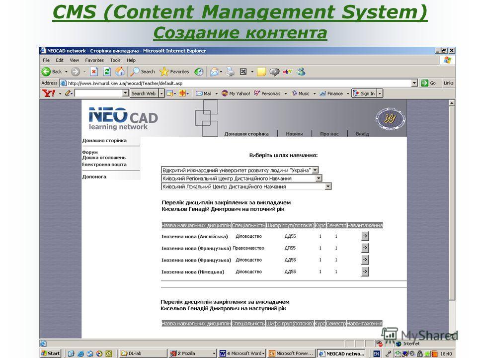CMS (Content Management System) Создание контента