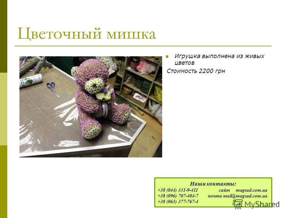 Цветочный мишка Игрушка выполнена из живых цветов Стоимость 2200 грн Наши контакты: +38 (044) 331-9-411 сайт magsad.com.ua +38 (096) 707-404-7 почта mail@magsad.com.ua +38 (063) 377-767-4