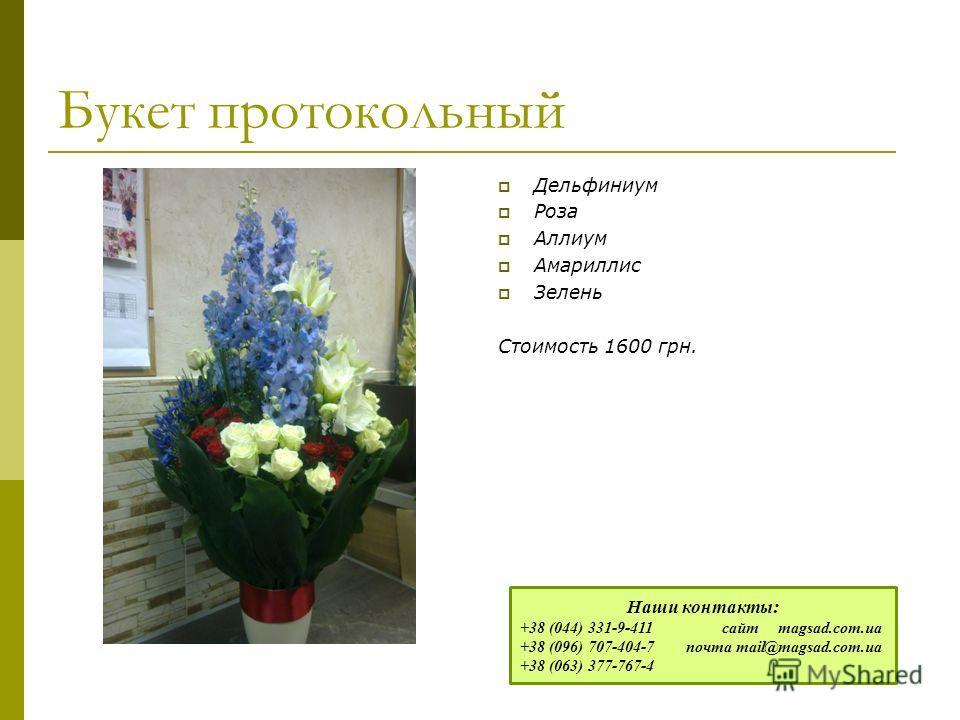 Букет протокольный Дельфиниум Роза Аллиум Амариллис Зелень Стоимость 1600 грн. Наши контакты: +38 (044) 331-9-411 сайт magsad.com.ua +38 (096) 707-404-7 почта mail@magsad.com.ua +38 (063) 377-767-4