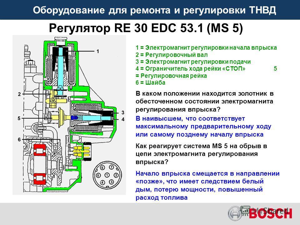 Оборудование для ремонта и регулировки ТНВД Регулятор RE 30 EDC 53.1 (MS 5) Как реагирует система MS 5 на обрыв в цепи электромагнита регулирования впрыска? В каком положении находится золотник в обесточенном состоянии электромагнита регулирования вп