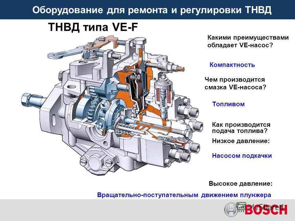 Оборудование для ремонта и регулировки ТНВД ТНВД типа VE-F Какими преимуществами обладает VE-насос? Компактность Чем производится смазка VE-насоса? Топливом Как производится подача топлива? Низкое давление: Насосом подкачки Высокое давление: Вращател