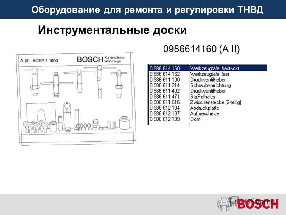 Оборудование для ремонта и регулировки ТНВД 0986614160 (A II) Инструментальные доски