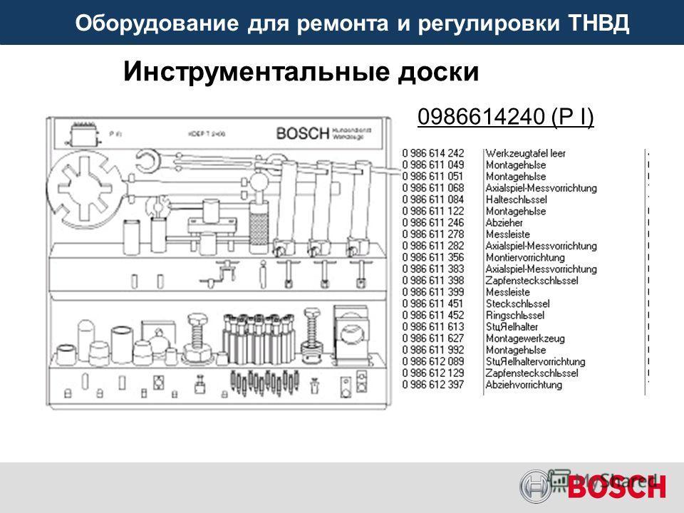 Оборудование для ремонта и регулировки ТНВД 0986614240 (P I) Инструментальные доски