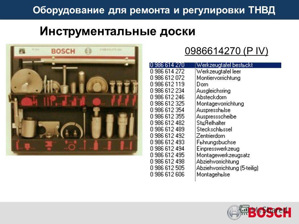 Оборудование для ремонта и регулировки ТНВД Инструментальные доски 0986614270 (P IV)