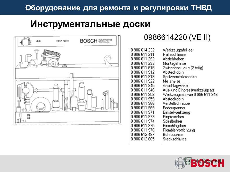 Оборудование для ремонта и регулировки ТНВД Инструментальные доски 0986614220 (VE II)