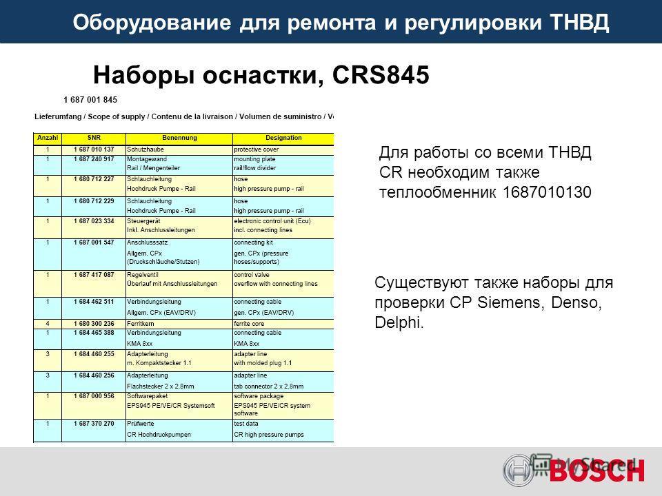 Оборудование для ремонта и регулировки ТНВД Наборы оснастки, CRS845 Для работы со всеми ТНВД CR необходим также теплообменник 1687010130 Существуют также наборы для проверки CP Siemens, Denso, Delphi.