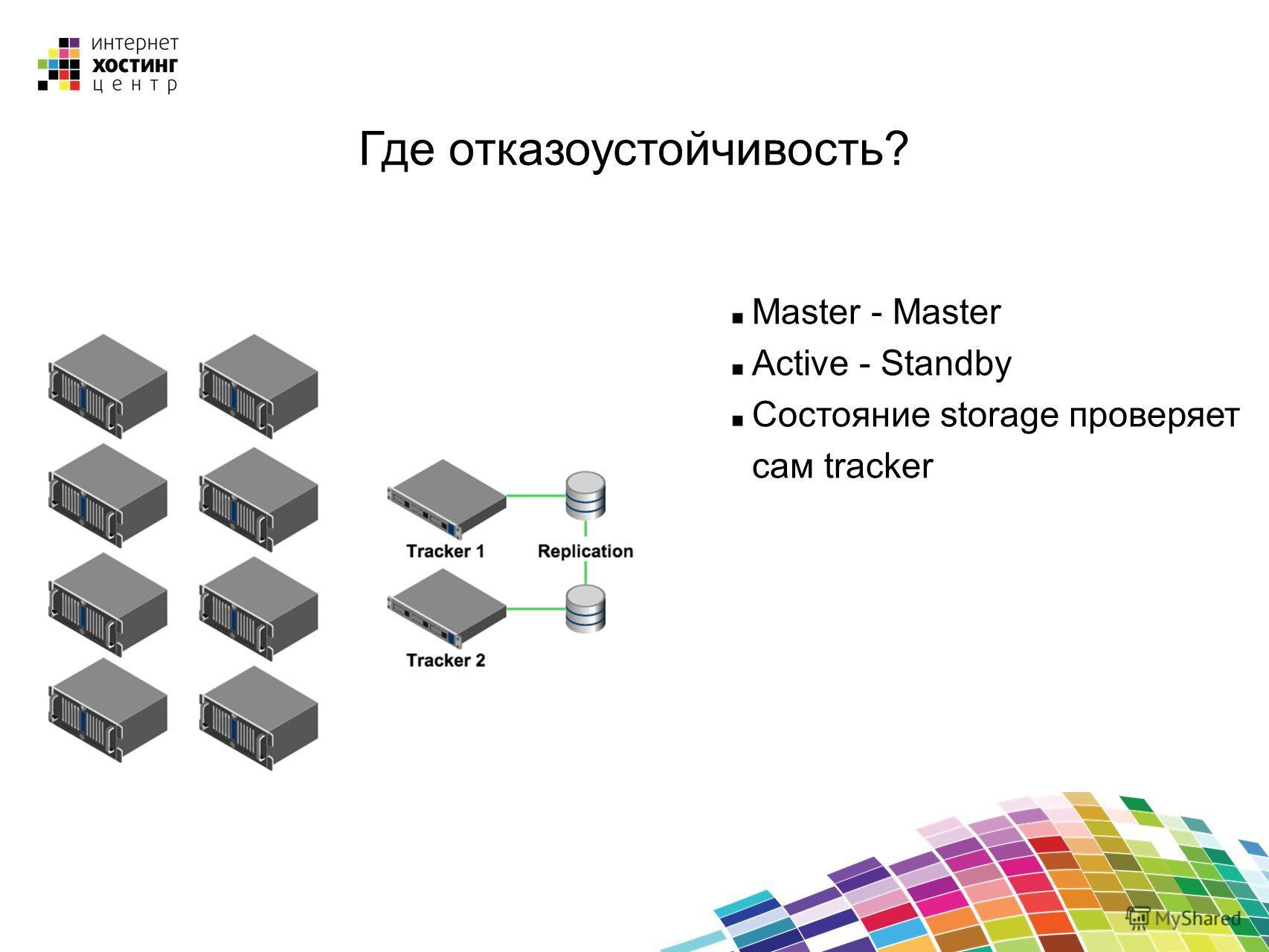 Master - Master Active - Standby Состояние storage проверяет сам tracker