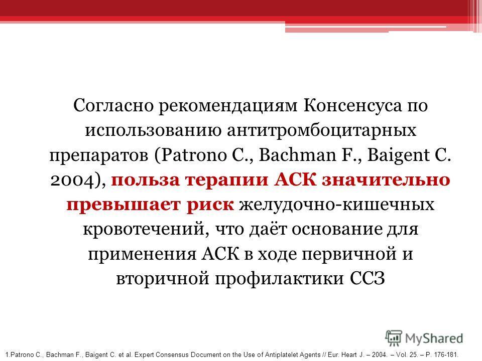 Согласно рекомендациям Консенсуса по использованию антитромбоцитарных препаратов (Patrono C., Bachman F., Baigent C. 2004), польза терапии АСК значительно превышает риск желудочно-кишечных кровотечений, что даёт основание для применения АСК в ходе пе