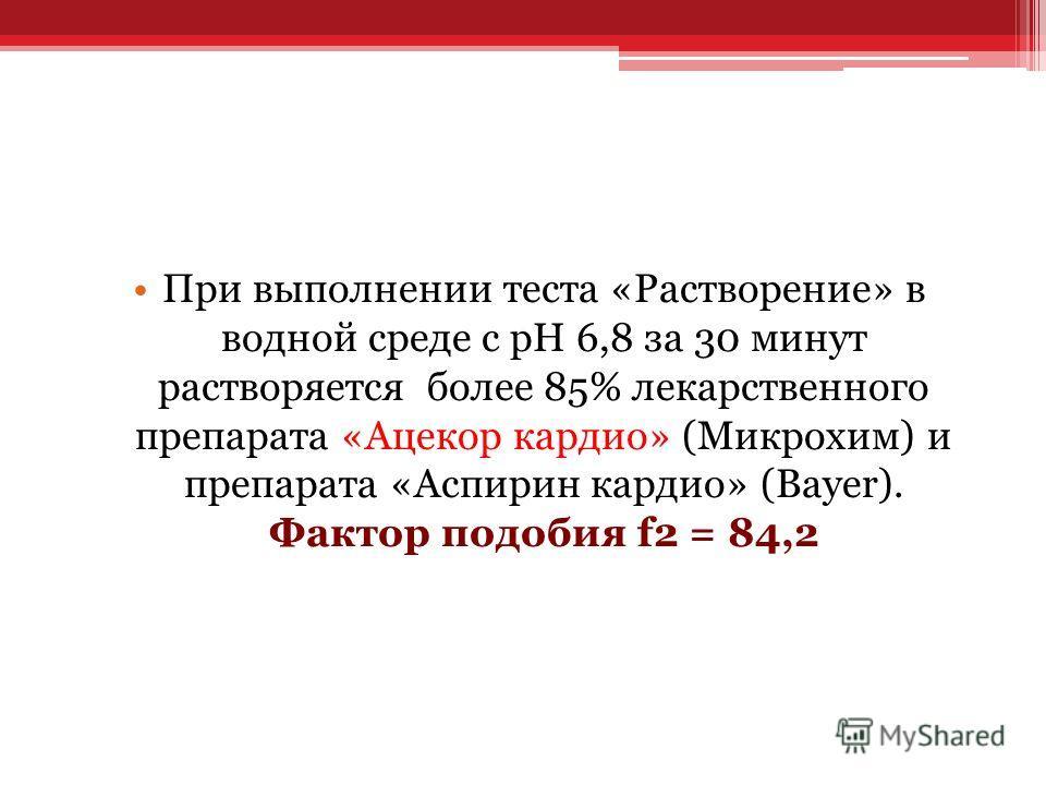 При выполнении теста «Растворение» в водной среде с рН 6,8 за 30 минут растворяется более 85% лекарственного препарата «Ацекор кардио» (Микрохим) и препарата «Аспирин кардио» (Bayer). Фактор подобия f2 = 84,2