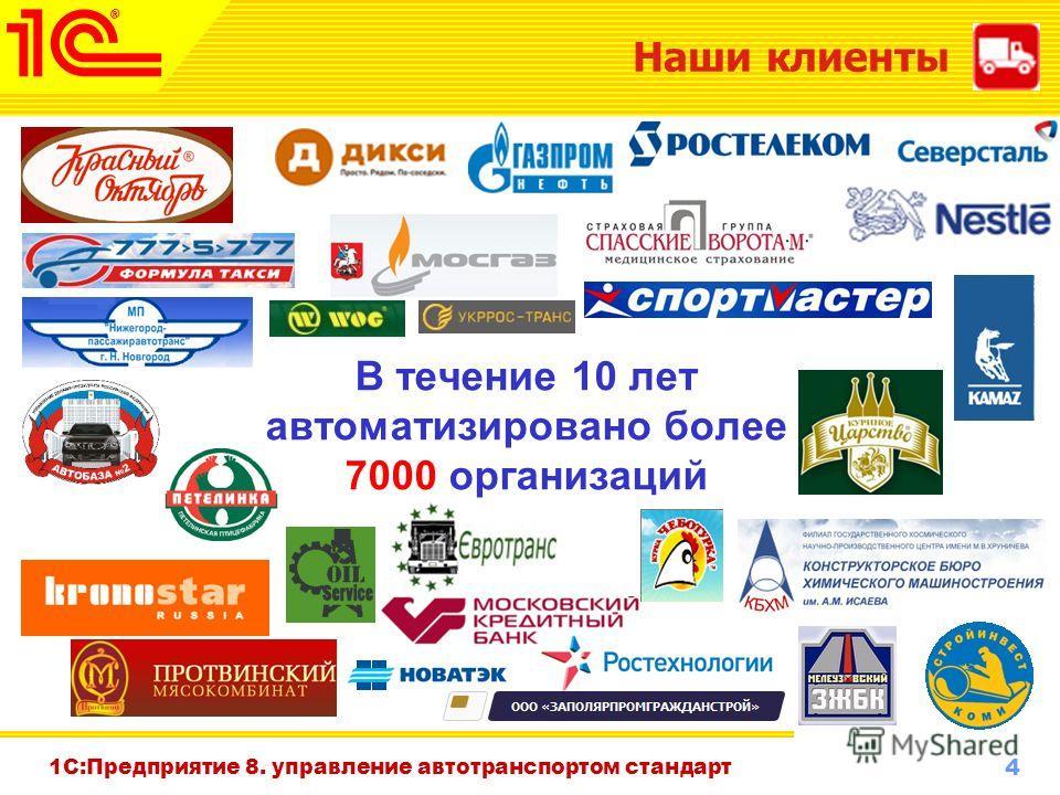 4 www.1c-menu.ru, Октябрь 2010 г. Наши клиенты В течение 10 лет автоматизировано более 7000 организаций 1С:Предприятие 8. управление автотранспортом стандарт