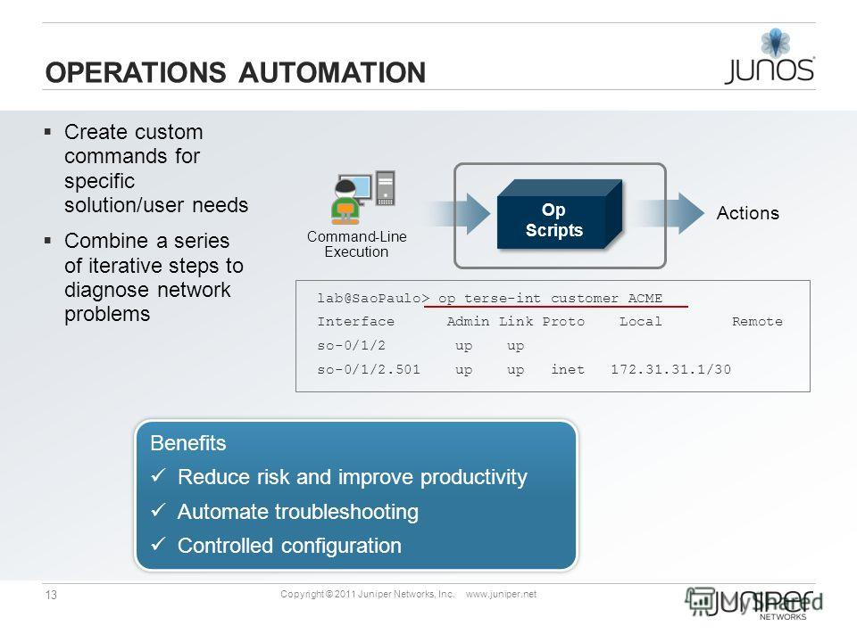 13 Copyright © 2011 Juniper Networks, Inc. www.juniper.net Actions Command-Line Execution OPERATIONS AUTOMATION Benefits Reduce risk and improve productivity Automate troubleshooting Controlled configuration Benefits Reduce risk and improve productiv