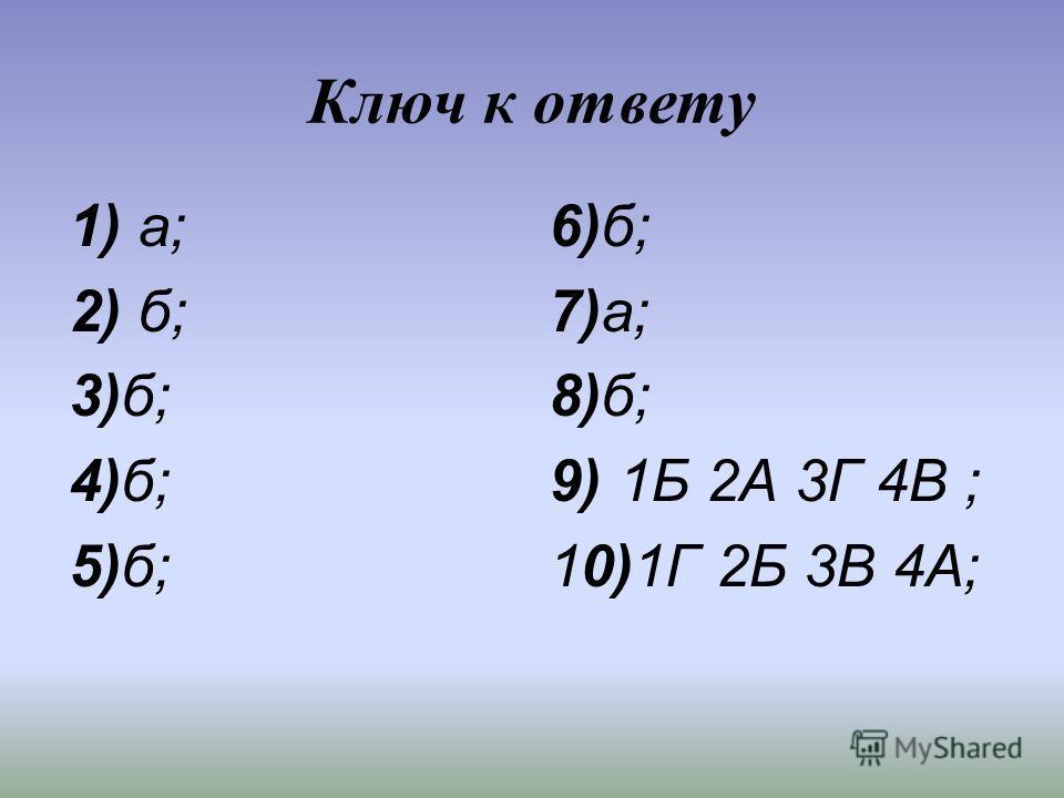 Ключ к ответу 1) а; 6)б; 2) б; 7)а; 3)б; 8)б; 4)б; 9) 1Б 2А 3Г 4В ; 5)б; 10)1Г 2Б 3В 4А;