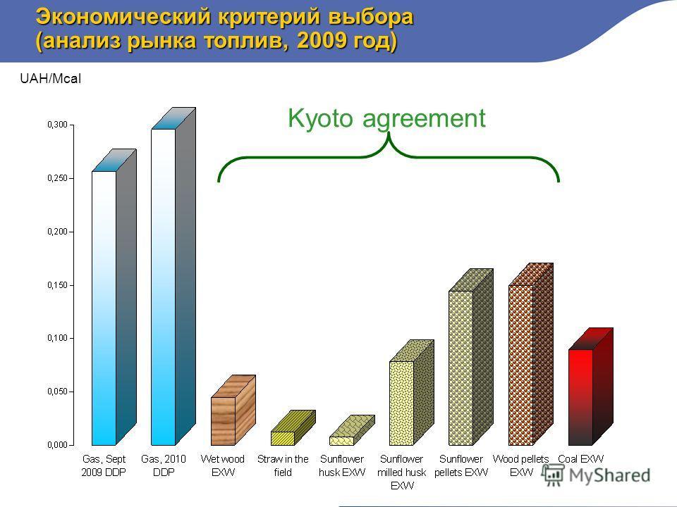 Экономический критерий выбора (анализ рынка топлив, 2009 год) UAH/Mcal Kyoto agreement