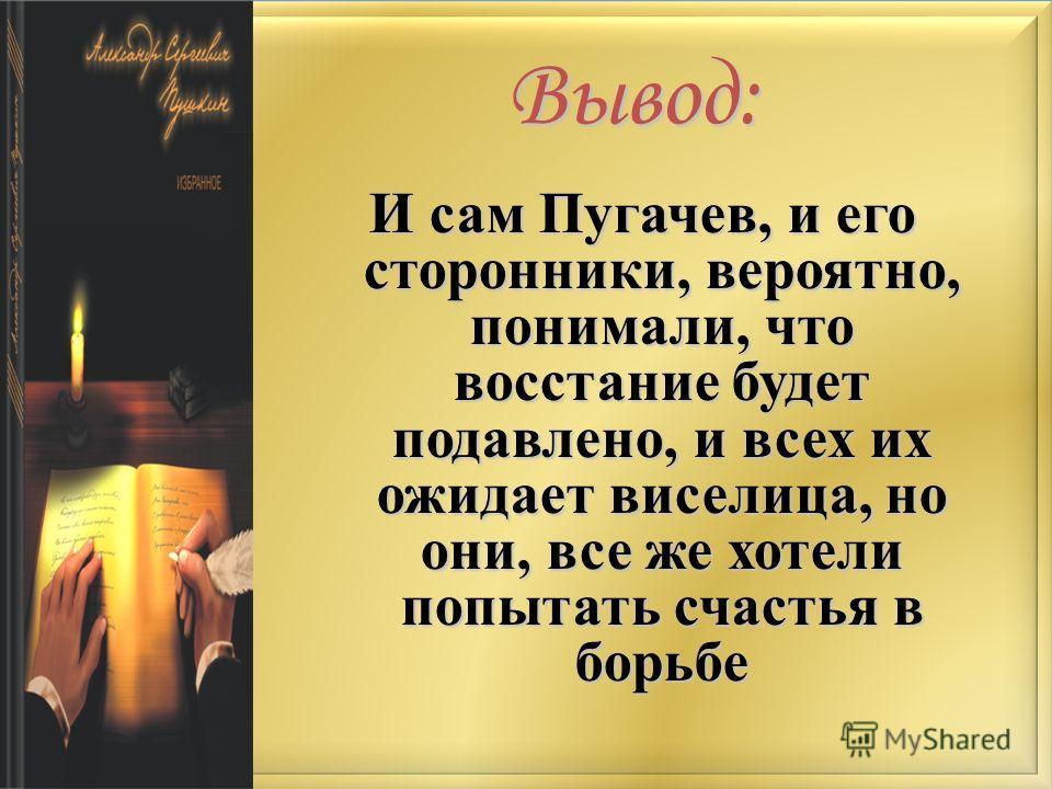 Вывод: И сам Пугачев, и его сторонники, вероятно, понимали, что восстание будет подавлено, и всех их ожидает виселица, но они, все же хотели попытать счастья в борьбе