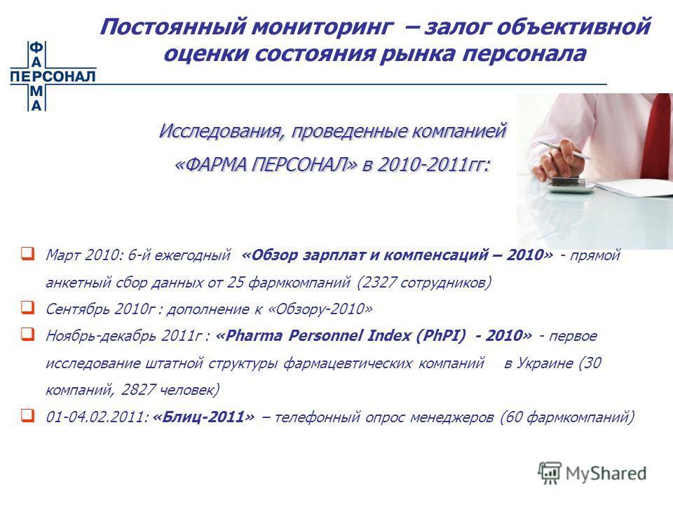 Исследования, проведенные компанией «ФАРМА ПЕРСОНАЛ» в 2010-2011гг: Март 2010: 6-й ежегодный «Обзор зарплат и компенсаций – 2010» - прямой анкетный сбор данных от 25 фармкомпаний (2327 сотрудников) Сентябрь 2010г : дополнение к «Обзору-2010» Ноябрь-д