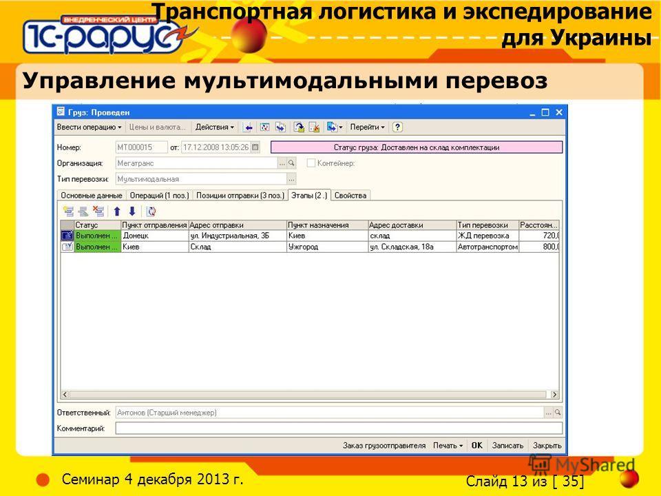 Транспортная логистика и экспедирование для Украины Слайд 13 из [ 35] Семинар 4 декабря 2013 г. Управление мультимодальными перевоз
