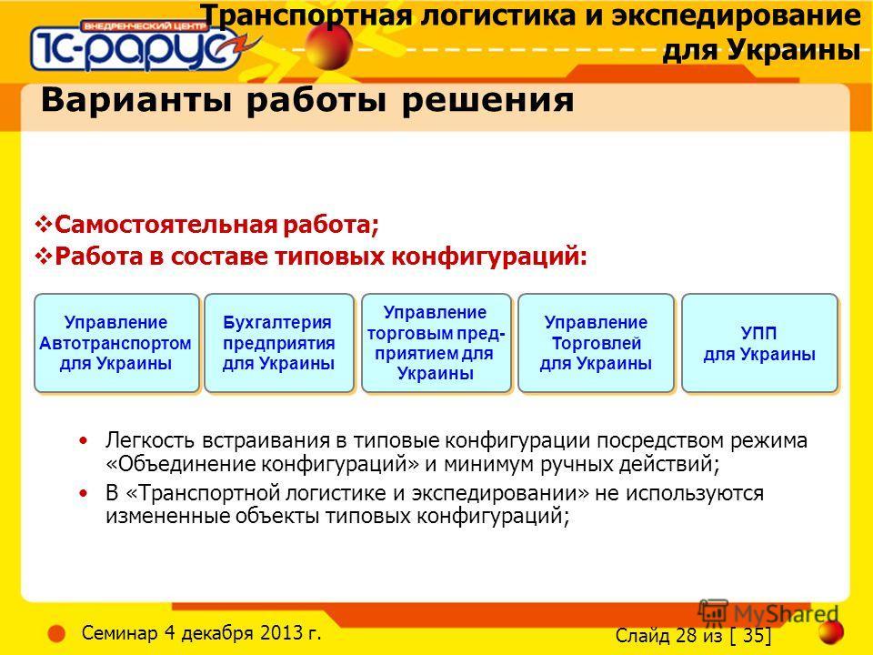 Транспортная логистика и экспедирование для Украины Слайд 28 из [ 35] Семинар 4 декабря 2013 г. Варианты работы решения Самостоятельная работа; Работа в составе типовых конфигураций: Легкость встраивания в типовые конфигурации посредством режима «Объ