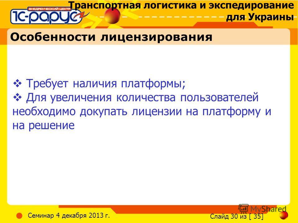Транспортная логистика и экспедирование для Украины Слайд 30 из [ 35] Семинар 4 декабря 2013 г. Особенности лицензирования Требует наличия платформы; Для увеличения количества пользователей необходимо докупать лицензии на платформу и на решение