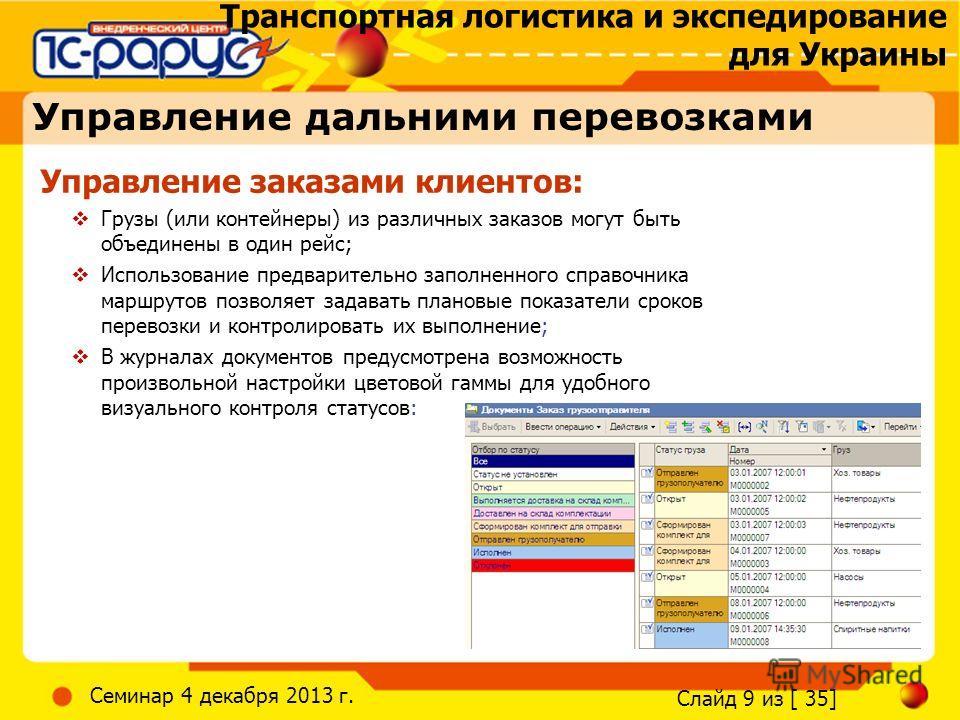 Транспортная логистика и экспедирование для Украины Слайд 9 из [ 35] Семинар 4 декабря 2013 г. Управление заказами клиентов: Грузы (или контейнеры) из различных заказов могут быть объединены в один рейс; Использование предварительно заполненного спра