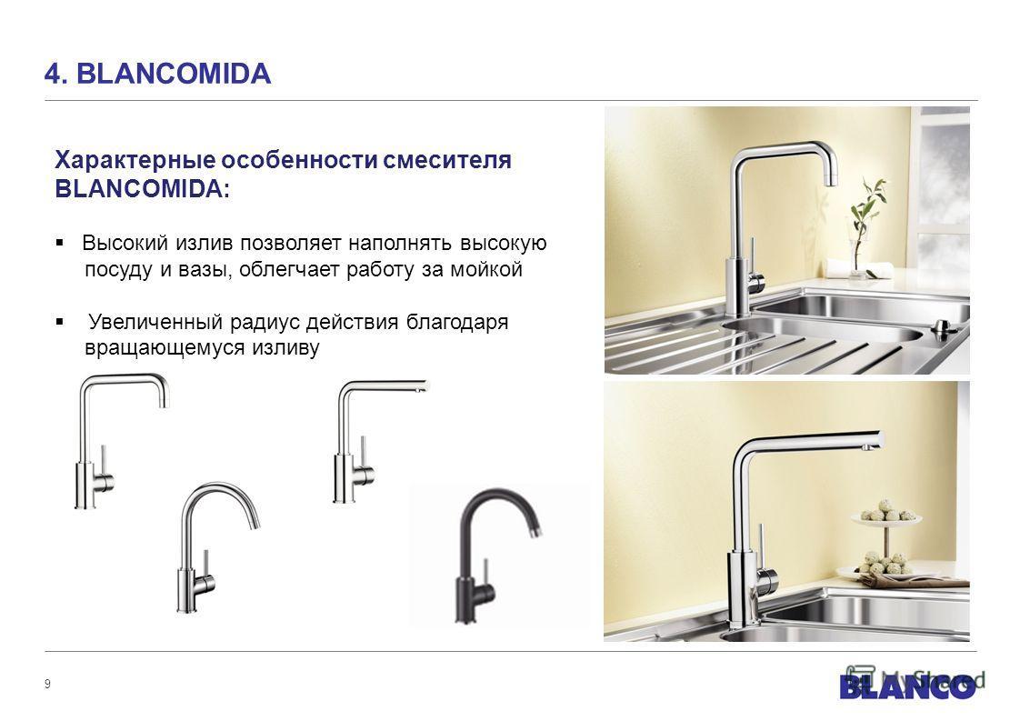 9 4. BLANCOMIDA Характерные особенности смесителя BLANCOMIDA: Высокий излив позволяет наполнять высокую посуду и вазы, облегчает работу за мойкой Увеличенный радиус действия благодаря вращающемуся изливу