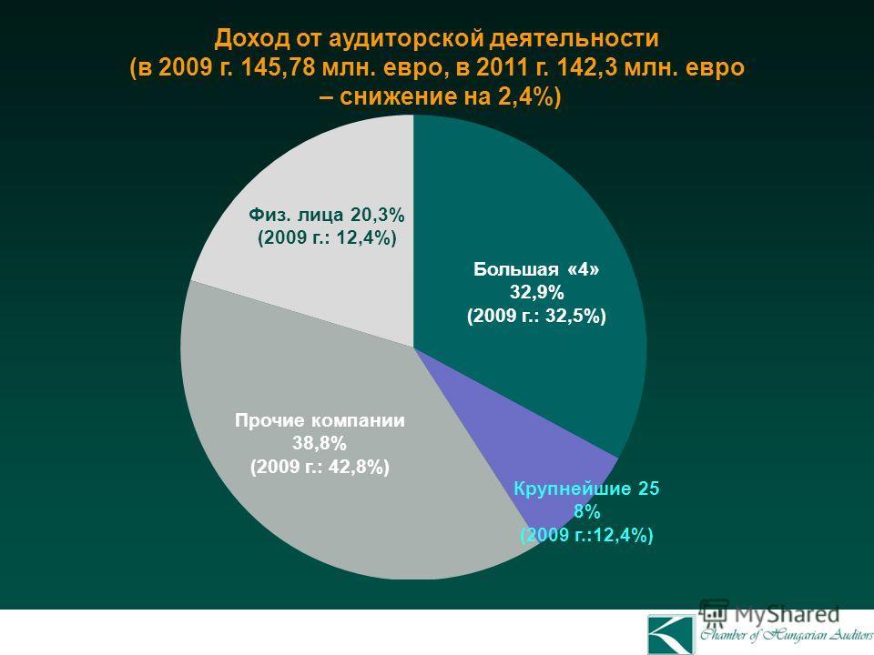 Доход от аудиторской деятельности (в 2009 г. 145,78 млн. евро, в 2011 г. 142,3 млн. евро – снижение на 2,4%) Физ. лица 20,3% (2009 г.: 12,4%) Большая «4» 32,9% (2009 г.: 32,5%) Крупнейшие 25 8% (2009 г.:12,4%) Прочие компании 38,8% (2009 г.: 42,8%)
