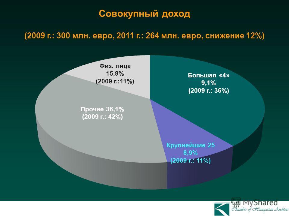 Совокупный доход (2009 г.: 300 млн. евро, 2011 г.: 264 млн. евро, снижение 12%) Прочие 36,1% (2009 г.: 42%) Физ. лица 15,9% (2009 г.:11%) Большая «4» 9,1% (2009 г.: 36%) Крупнейшие 25 8,9% (2009 г.: 11%)