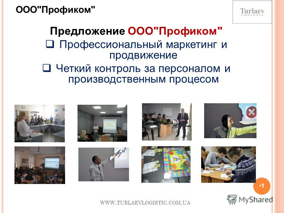 WWW. TURLAEVLOGISTIC. COM. UA 1 Предложение ОООПрофиком Профессиональный маркетинг и продвижение Четкий контроль за персоналом и производственным процесом ОООПрофиком