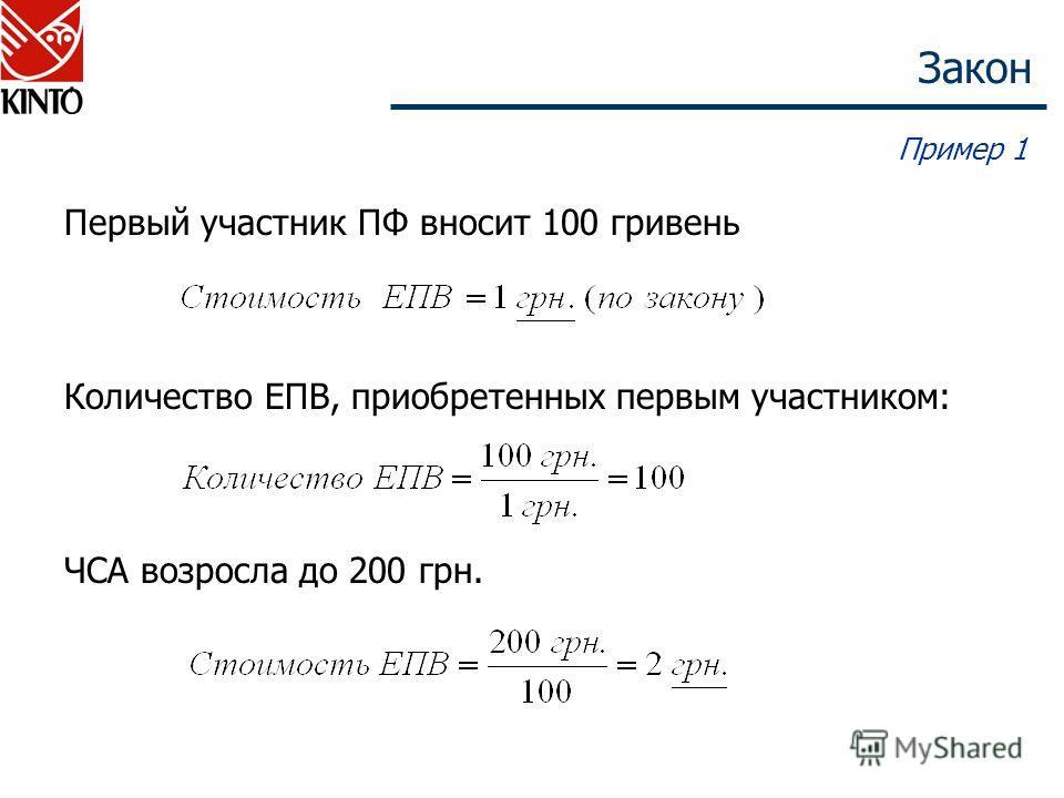 Закон Пример 1 Первый участник ПФ вносит 100 гривень Количество ЕПВ, приобретенных первым участником: ЧСА возросла до 200 грн.