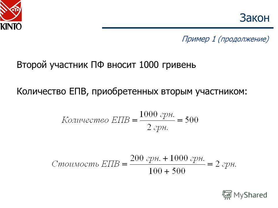Закон Пример 1 (продолжение) Второй участник ПФ вносит 1000 гривень Количество ЕПВ, приобретенных вторым участником: