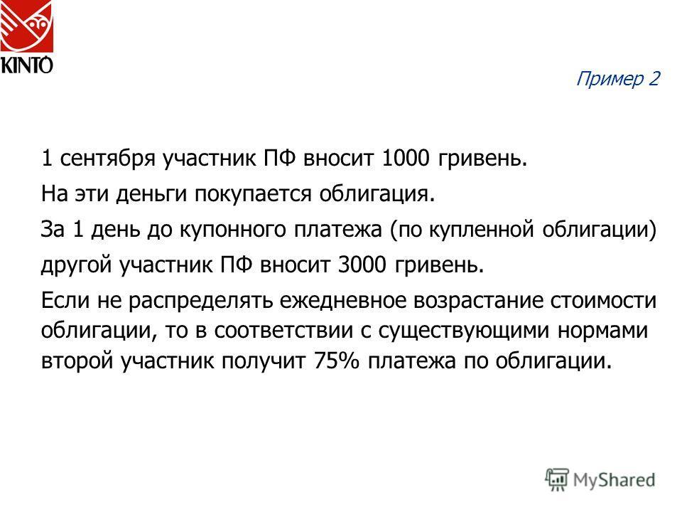 Пример 2 1 сентября участник ПФ вносит 1000 гривень. На эти деньги покупается облигация. За 1 день до купонного платежа (по купленной облигации) другой участник ПФ вносит 3000 гривень. Если не распределять ежедневное возрастание стоимости облигации,