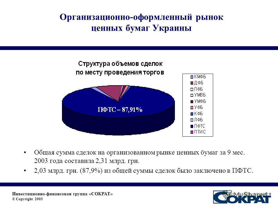 Организационно-оформленный рынок ценных бумаг Украины Общая сумма сделок на организованном рынке ценных бумаг за 9 мес. 2003 года составила 2,31 млрд. грн. 2,03 млрд. грн. (87,9%) из общей суммы сделок было заключено в ПФТС. Инвестиционно-финансовая