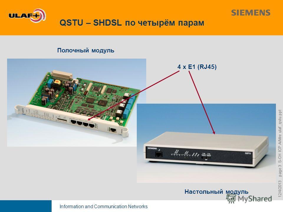Information and Communication Networks 9,825,461,087,64 10,91 6,00 0,00 8,00 12/4/2013 page 3 S-CH ICP A/Mre ulaf_qstu.ppt QSTU – SHDSL по четырём парам Полочный модуль Настольный модуль 4 x E1 (RJ45)