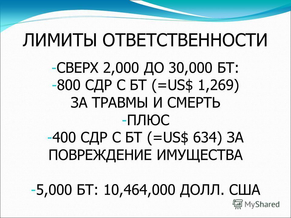 ЛИМИТЫ ОТВЕТСТВЕННОСТИ - СВЕРХ 2,000 ДО 30,000 БТ: - 800 СДР С БТ (=US$ 1,269) ЗА ТРАВМЫ И СМЕРТЬ - ПЛЮС - 400 СДР С БТ (=US$ 634) ЗА ПОВРЕЖДЕНИЕ ИМУЩЕСТВА - 5,000 БТ: 10,464,000 ДОЛЛ. США