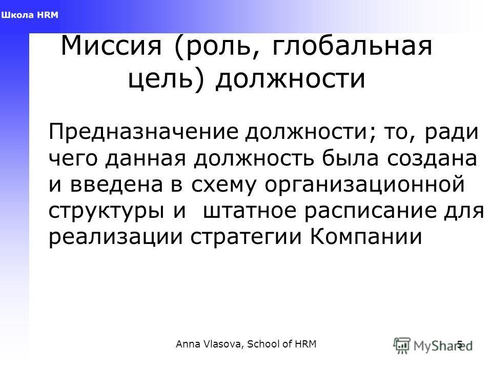 Anna Vlasova, School of HRM5 Миссия (роль, глобальная цель) должности Предназначение должности; то, ради чего данная должность была создана и введена в схему организационной структуры и штатное расписание для реализации стратегии Компании