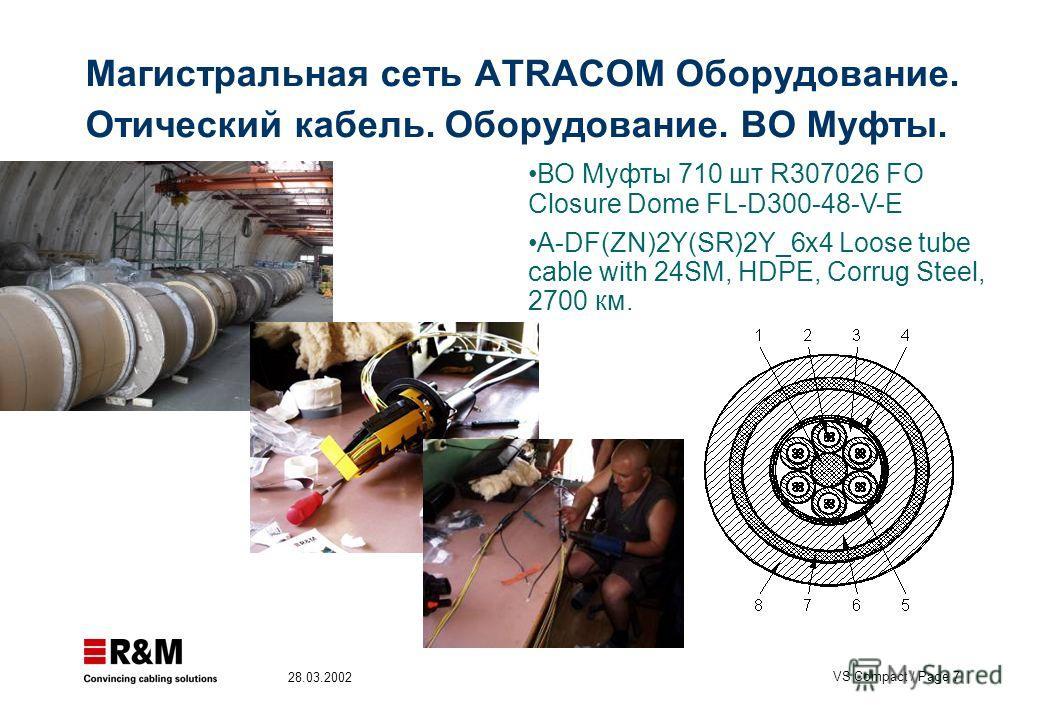 VS Compact / Page 7 28.03.2002 Магистральная сеть ATRACOM Оборудование. Отический кабель. Оборудование. ВО Муфты. ВО Муфты 710 шт R307026 FO Closure Dome FL-D300-48-V-E A-DF(ZN)2Y(SR)2Y_6x4 Loose tube cable with 24SM, HDPE, Corrug Steel, 2700 км.