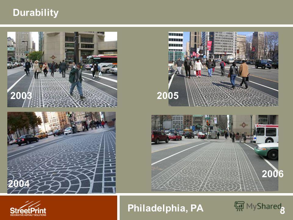 8 2003 2004 2005 Philadelphia, PA Durability 2006