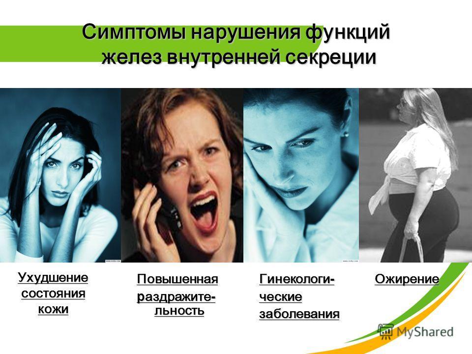 Симптомы нарушения функций желез внутренней секреции УхудшениесостояниякожиПовышенная раздражите- льность Гинекологи- ческиезаболеванияОжирение