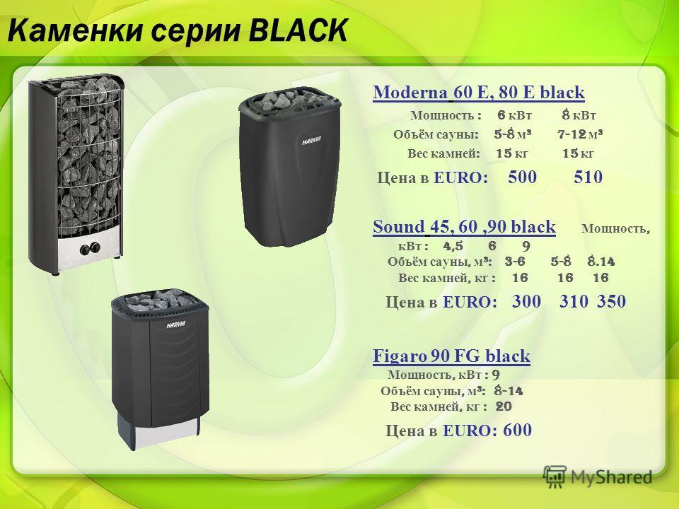 Каменки серии BLACK Moderna 60 E, 80 E black Мощность : 6 кВт 8 кВт Объём сауны : 5-8 м ³ 7-12 м ³ Вес камней : 15 кг 15 кг Цена в EURO : 500 510 Sound 45, 60,90 black Мощность, кВт : 4,5 6 9 Объём сауны, м ³: 3-6 5-8 8.14 Вес камней, кг : 16 16 16 Ц