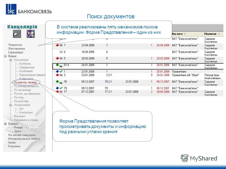 В системе реализованы пять механизмов поиска информации. Форма Представления – один из них Форма Представления позволяет просматривать документы и информацию под разными углами зрения Поиск документов