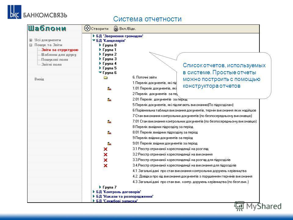 Список отчетов, используемых в системе. Простые отчеты можно построить с помощью конструктора отчетов Система отчетности