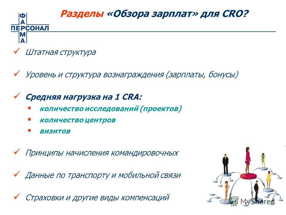 Разделы «Обзора зарплат» для CRO? Штатная структура Уровень и структура вознаграждения (зарплаты, бонусы) Средняя нагрузка на 1 CRA: количество исследований (проектов) количество центров визитов Принципы начисления командировочных Данные по транспорт