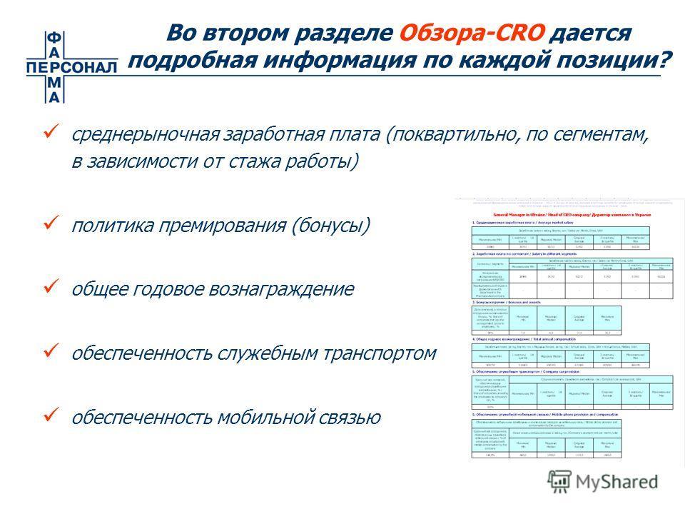 среднерыночная заработная плата (поквартильно, по сегментам, в зависимости от стажа работы) политика премирования (бонусы) общее годовое вознаграждение обеспеченность служебным транспортом обеспеченность мобильной связью Во втором разделе Обзора-CRO