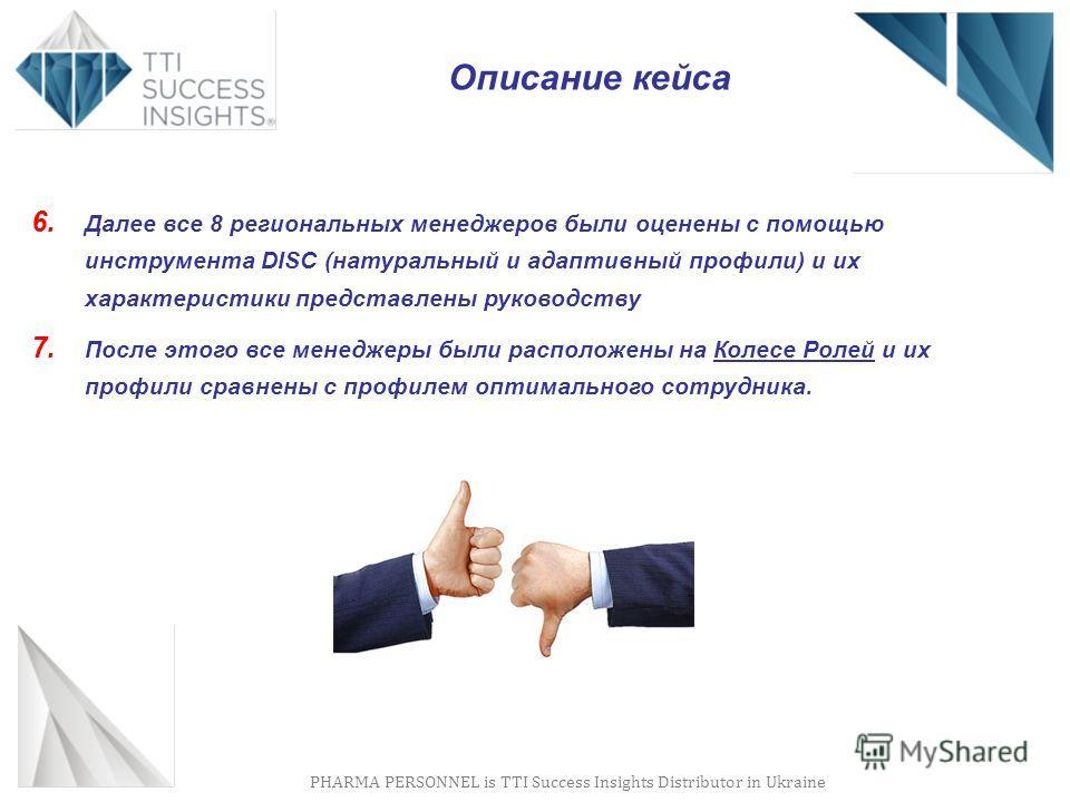 PHARMA PERSONNEL is TTI Success Insights Distributor in Ukraine Описание кейса 6. Далее все 8 региональных менеджеров были оценены с помощью инструмента DISC (натуральный и адаптивный профили) и их характеристики представлены руководству 7. После это