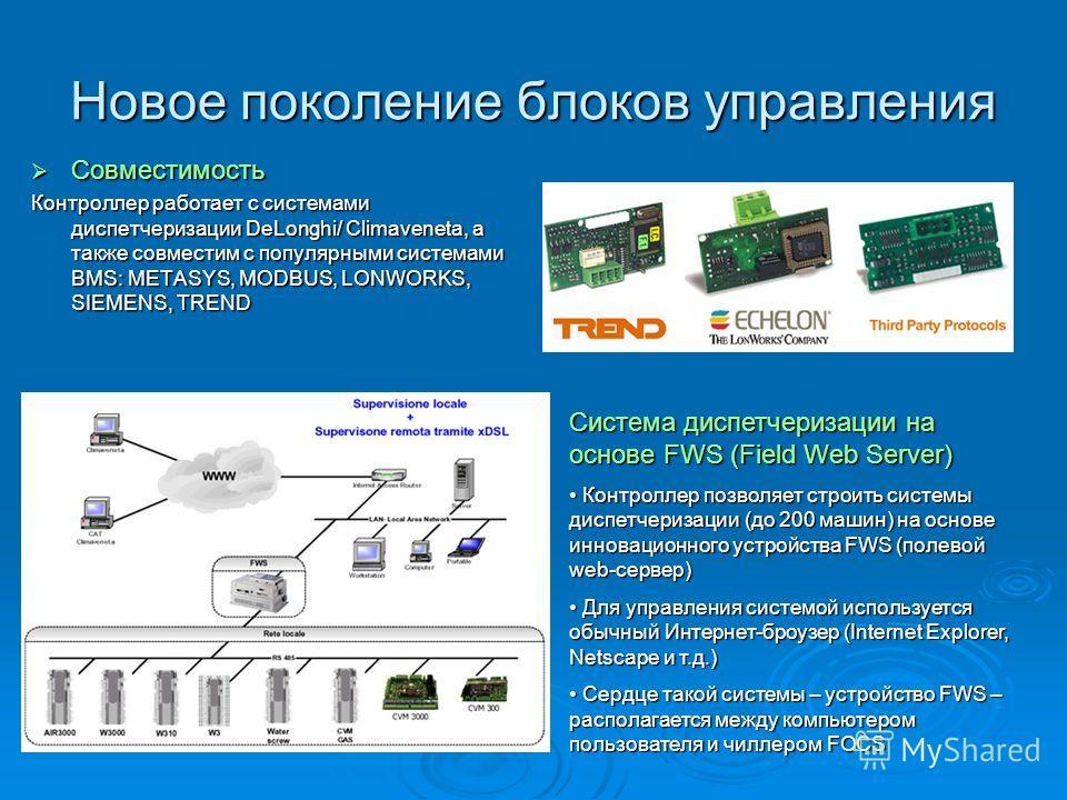 Новое поколение блоков управления Совместимость Совместимость Контроллер работает с системами диспетчеризации DeLonghi/ Climaveneta, а также совместим с популярными системами BMS: METASYS, MODBUS, LONWORKS, SIEMENS, TREND Система диспетчеризации на о