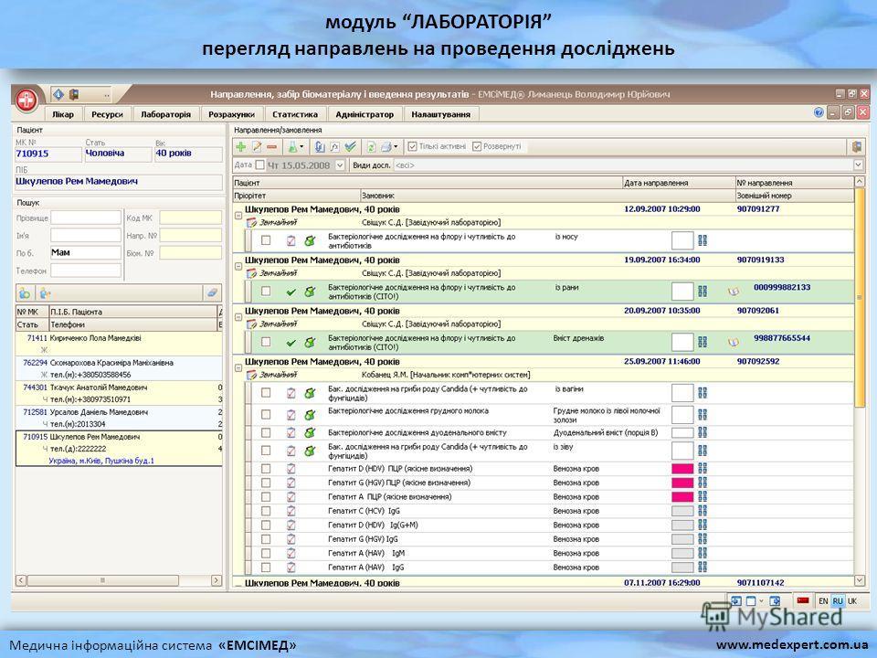 модуль ЛАБОРАТОРІЯ перегляд направлень на проведення досліджень Медична інформаційна система «ЕМСІМЕД» www.medexpert.com.ua
