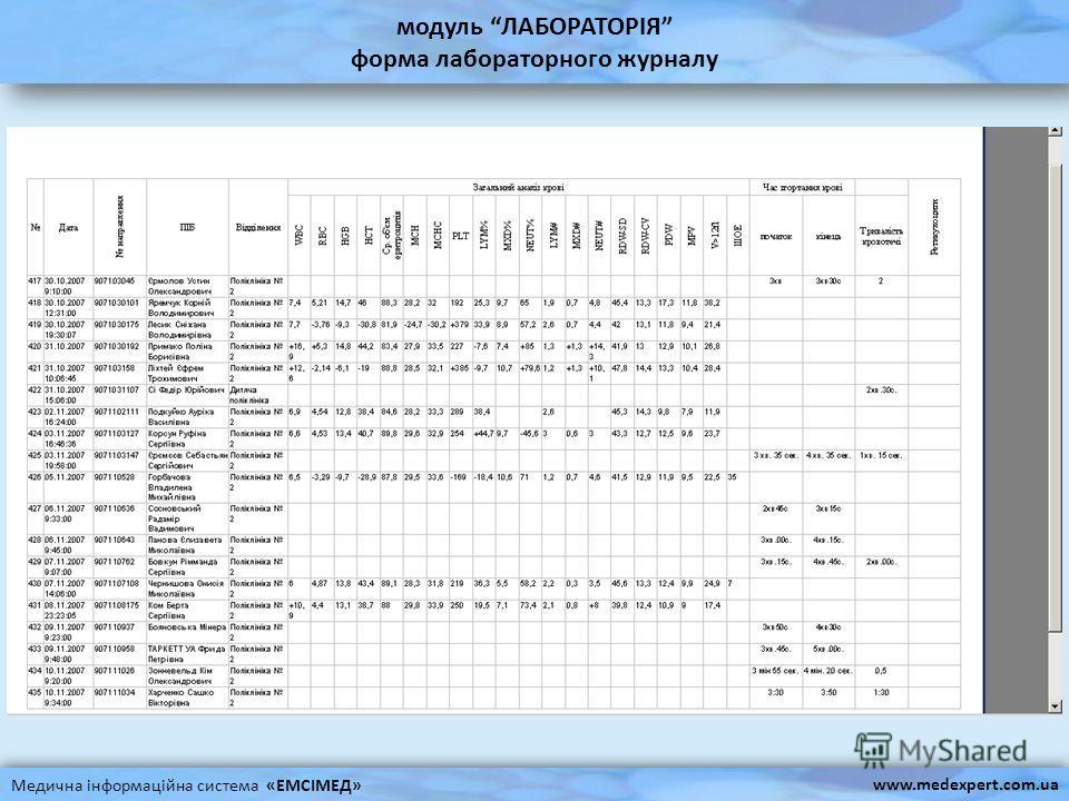 модуль ЛАБОРАТОРІЯ форма лабораторного журналу Медична інформаційна система «ЕМСІМЕД» www.medexpert.com.ua