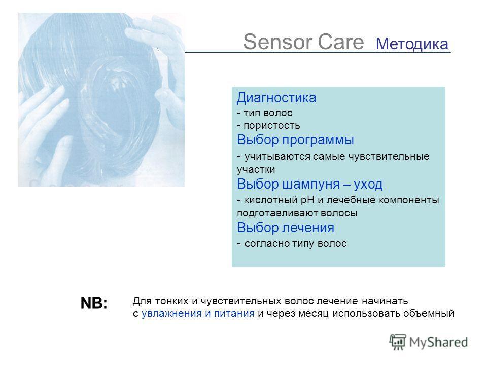 Sensor Care Методика Диагностика - тип волос - пористость Выбор программы - учитываются самые чувствительные участки Выбор шампуня – уход - кислотный рН и лечебные компоненты подготавливают волосы Выбор лечения - согласно типу волос NB: Для тонких и