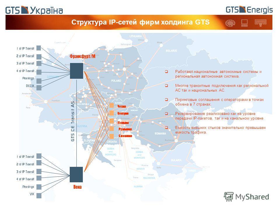 Структура IP-сетей фирм холдинга GTS Работают националные автономные системы и региональная автономная система. Многие транзитные подключения как региональной АС так и национальных АС. Пиринговые соглашения с операторами в точках обмена в 7 странах.